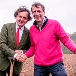 Pierre-Emmanuel Taittinger, with the red tie, and Patrick McGrath, officially break ground on the English vineyard, Domaine Evremond in Kent