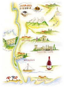 Map of the Rhone valley